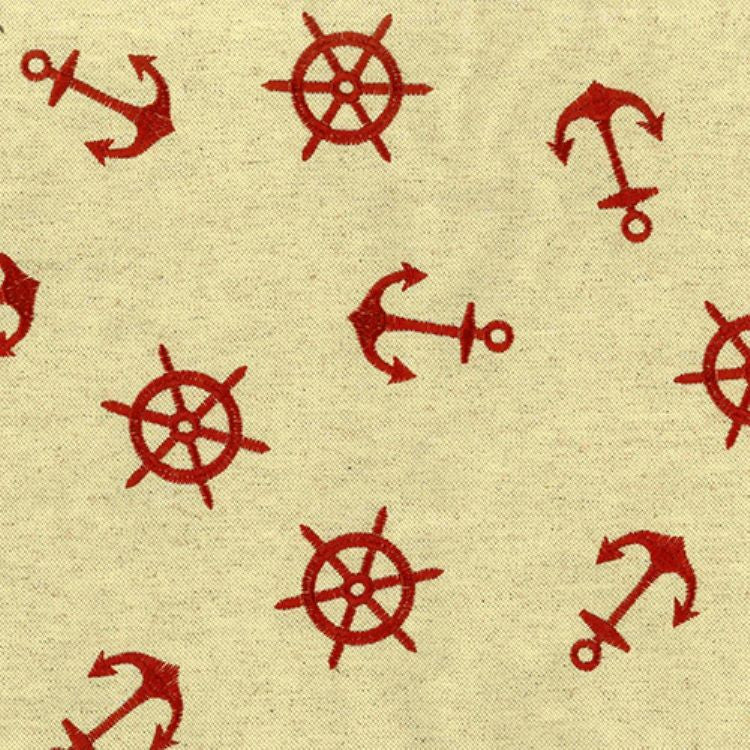 Regal Fabrics K-Anchors Crimson Embroidered Fabric - charlestonfabrics.com