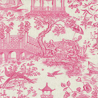 Williamsburg Toile Orientale Azalea Linen Fabric
