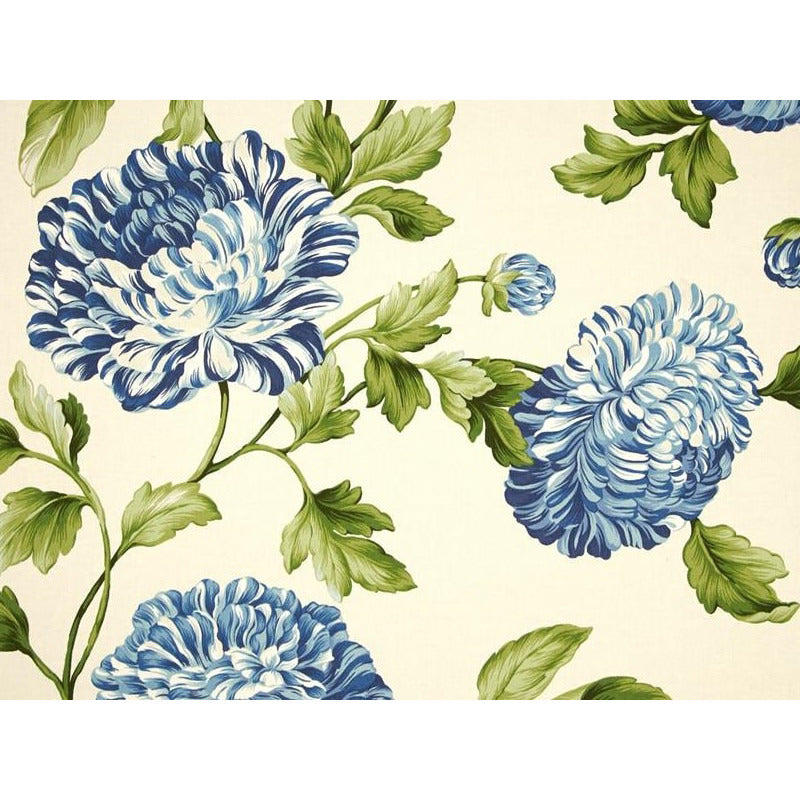 Waverly Williamsburg Charlotte Twill Bluebell Floral Fabric - charlestonfabrics.com