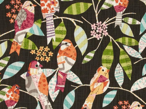 P Kaufmann Feathered Friends Slub Blackbird Floral Fabric - charlestonfabrics.com