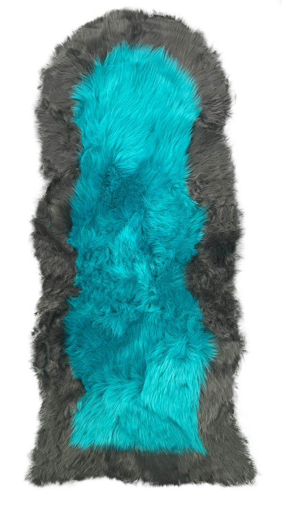 Soft Fluffy PLAIN Faux Fur 2 tone Rugs 60cm X 130cm Teal_Grey - cushion mania