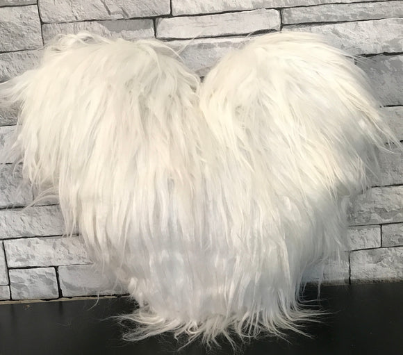 Love HEART SHAPED long Shaggy faux fur Filled cushions WHITE - cushion mania