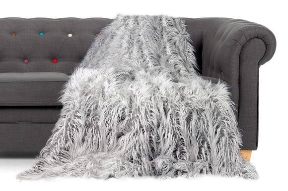 Shaggy Long Faux Fur Throw over Sofa Bedspread Fluffy SILVER - cushion mania