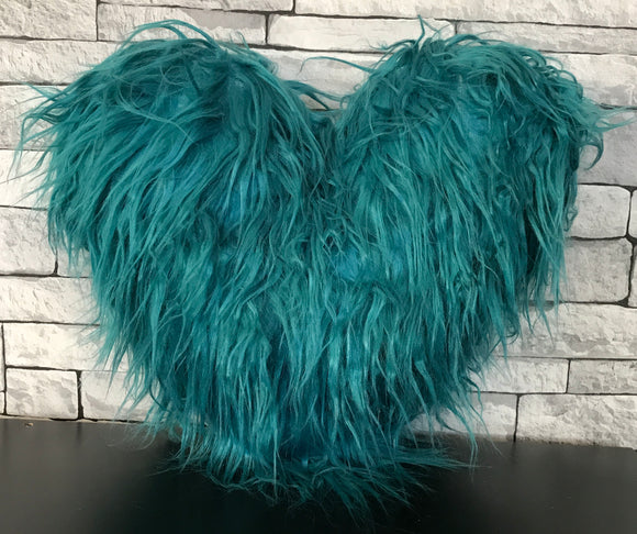 Love HEART SHAPED long Shaggy faux fur Filled cushions TEAL - cushion mania