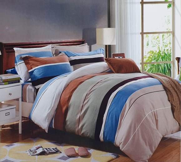Duvet Cover set 90 GSM quality Double King size Stripe Brown Blue - cushion mania