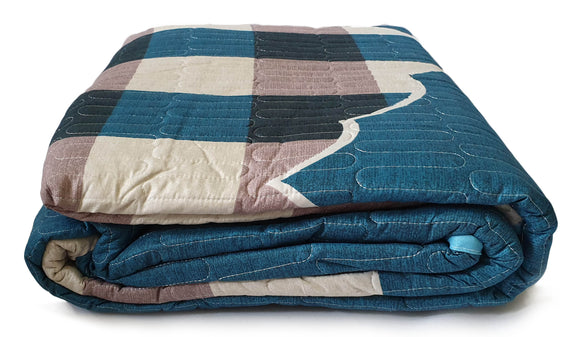 3 Piece Quilted Bedspread Throw Comforter Set Check Double King TEAL - cushion mania