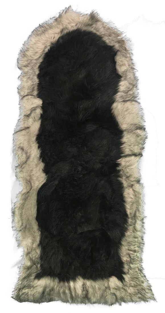 Soft Fluffy PLAIN Faux Fur 2 tone Rugs 60cm X 130cm Black_Beige - cushion mania