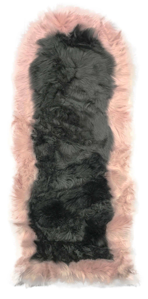 Soft Fluffy PLAIN Faux Fur 2 tone Rugs 60cm X 130cm Grey_Pink - cushion mania