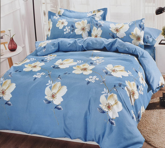 Duvet Cover set 90 GSM quality Double King size Daisy Trails Blue - cushion mania