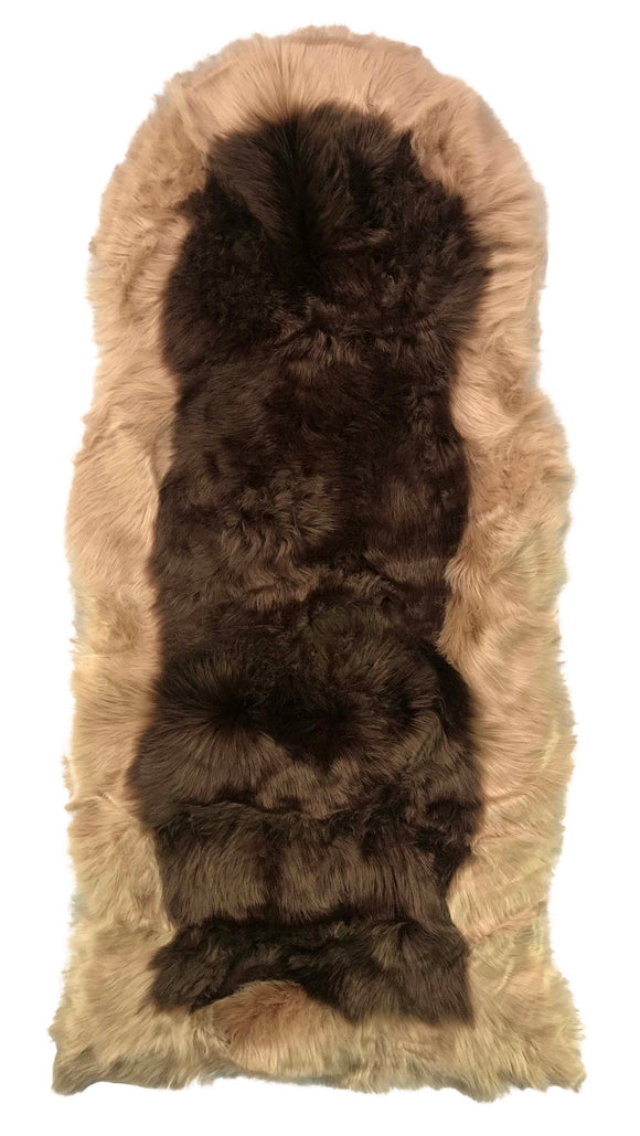Soft Fluffy PLAIN Faux Fur 2 tone Rugs 60cm X 130cm Brown_Beige - cushion mania