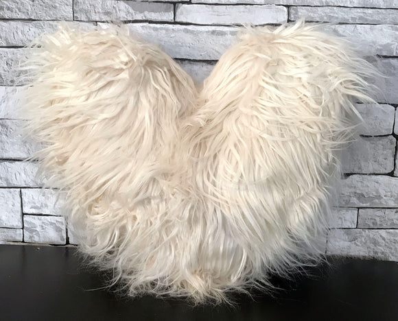 Love HEART SHAPED long Shaggy faux fur Filled cushions CREAM - cushion mania