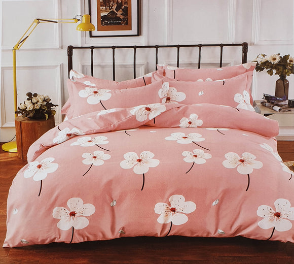 Duvet Cover set 90 GSM quality Double King size Daisy dusky pink - cushion mania