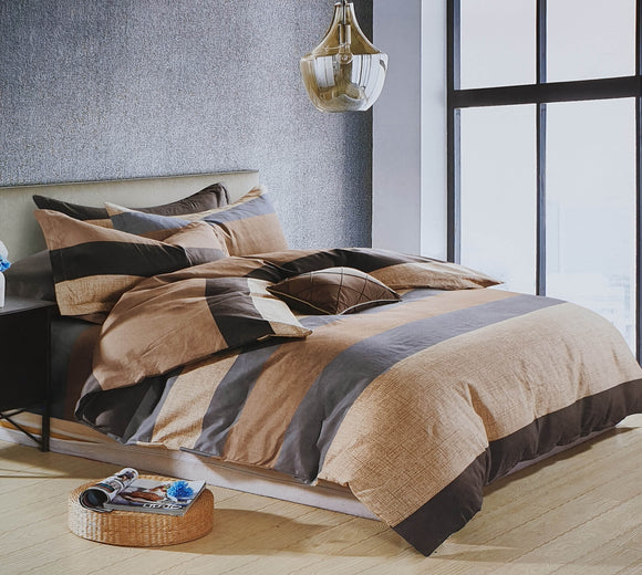Duvet Cover set 90 GSM quality Double King size Stripe Beige brown - cushion mania