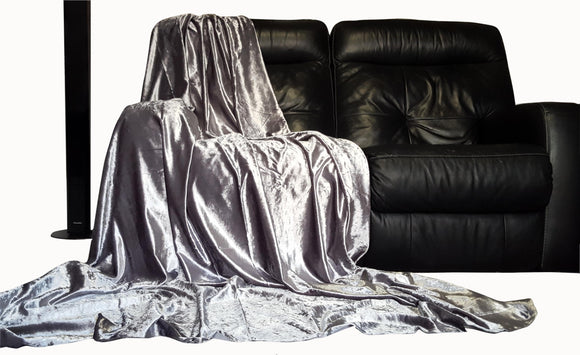 Shiny crushed velvet Throw over Silver - cushion mania