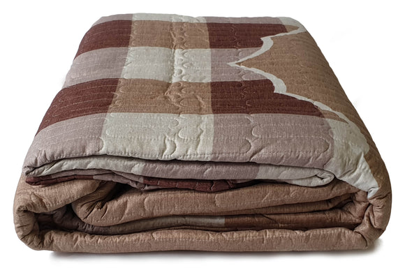 3 Piece Quilted Bedspread Throw Comforter Set Checks Double King BEIGE - cushion mania