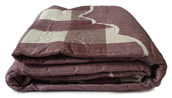 3 Piece Quilted Bedspread Throw Comforter Set Check Double King MAUVE - cushion mania
