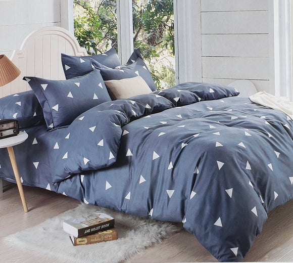 Duvet set 90 GSM quality Double King size Blue Triangles - cushion mania
