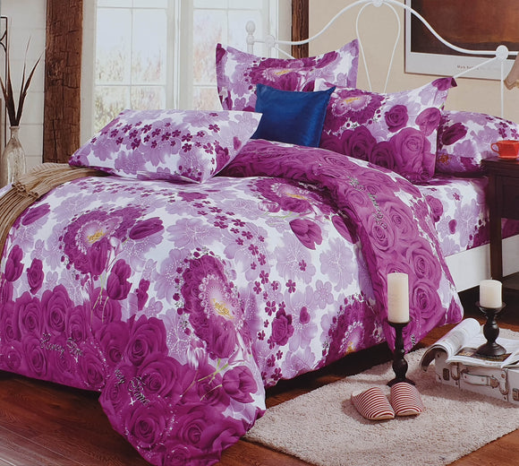 Duvet Cover set 90 GSM quality Double King size Roses heart Purple - cushion mania
