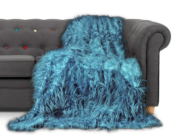 Shaggy Long Faux Fur Throw over Sofa Bedspread Fluffy TEAL - cushion mania
