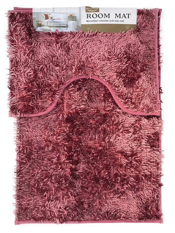 Sparkle chenille Bath and Pedestal Mat Sets Anti Slip Dusky pink - cushion mania