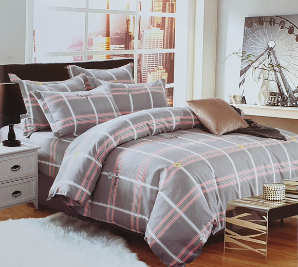 Duvet Cover set 90 GSM quality Double King size Pink Grey Checks - cushion mania