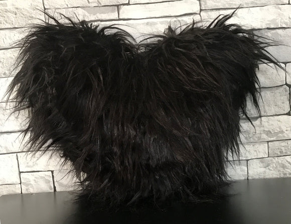 Love HEART SHAPED long Shaggy faux fur Filled cushions BLACK - cushion mania