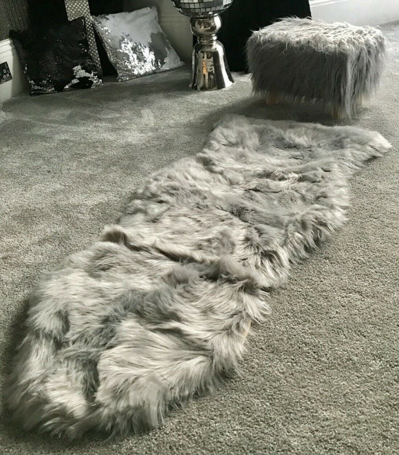 Soft Fluffy PLAIN Faux Fur Rugs Carpet Mat 60cm X 130cm Silver - cushion mania