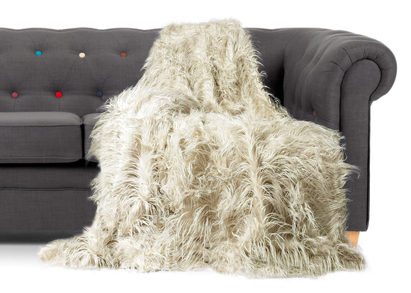 Shaggy Long Faux Fur Throw over Sofa Bedspread Fluffy CREAM - cushion mania
