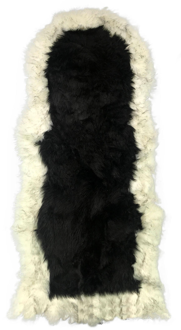 Soft Fluffy PLAIN Faux Fur 2 tone Rugs 60cm X 130cm Black_Cream - cushion mania