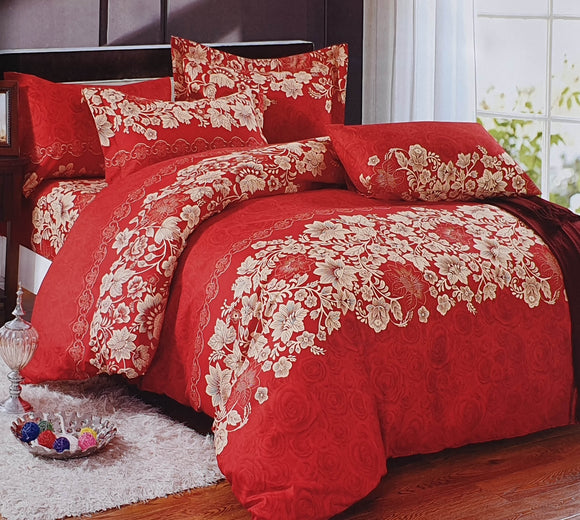 Duvet Cover set 90 GSM quality Double King size Flowers Trails Red - cushion mania