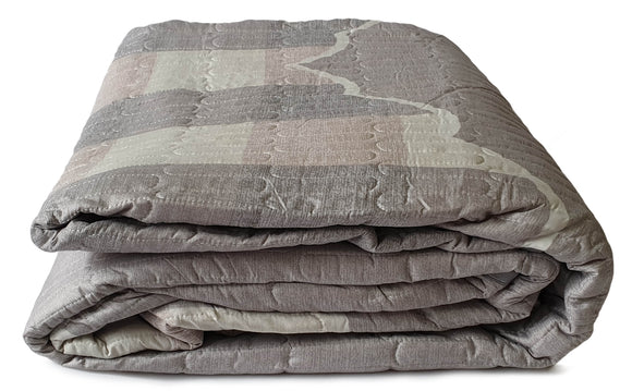 3 Piece Quilted Bedspread Throw Comforter Set Checks Double King SILVER - cushion mania