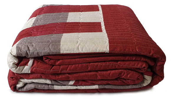 3 Piece Quilted Bedspread Throw Comforter Set Checks Double King RED - cushion mania