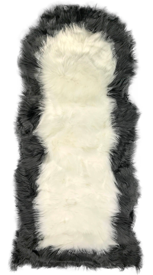 Soft Fluffy PLAIN Faux Fur 2 tone Rugs 60cm X 130cm White_Grey - cushion mania