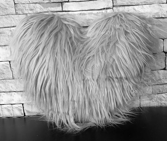 Love HEART SHAPED long Shaggy faux fur Filled cushions SILVER - cushion mania