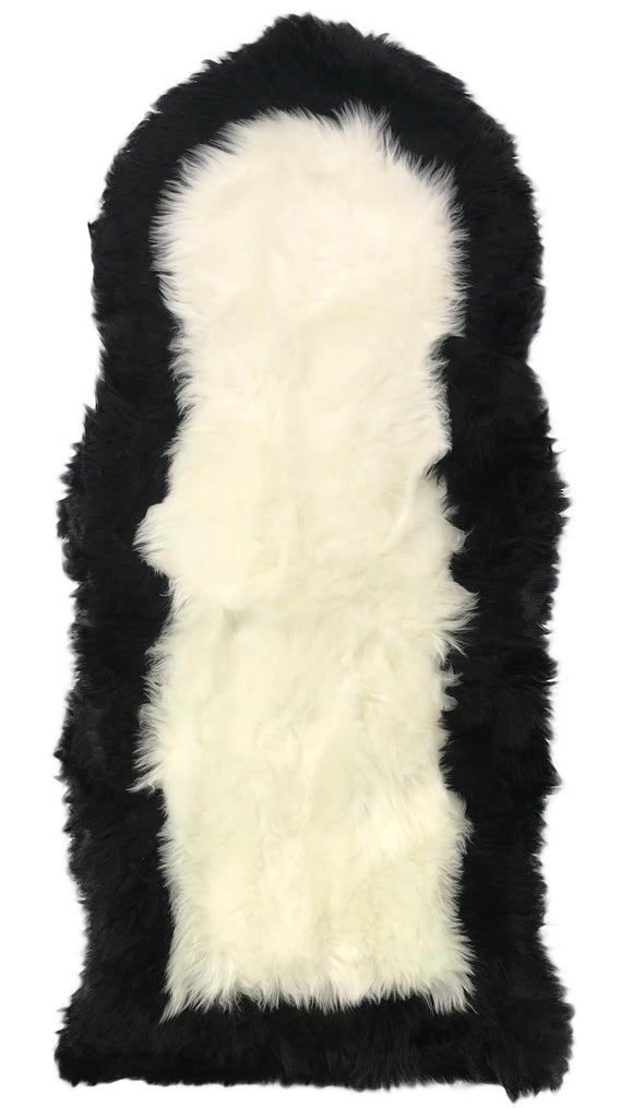 Soft Fluffy PLAIN Faux Fur 2 tone Rugs 60cm X 130cm White_Black - cushion mania