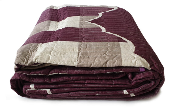 3 Piece Quilted Bedspread Throw Comforter Set Check Double King PURPLE - cushion mania