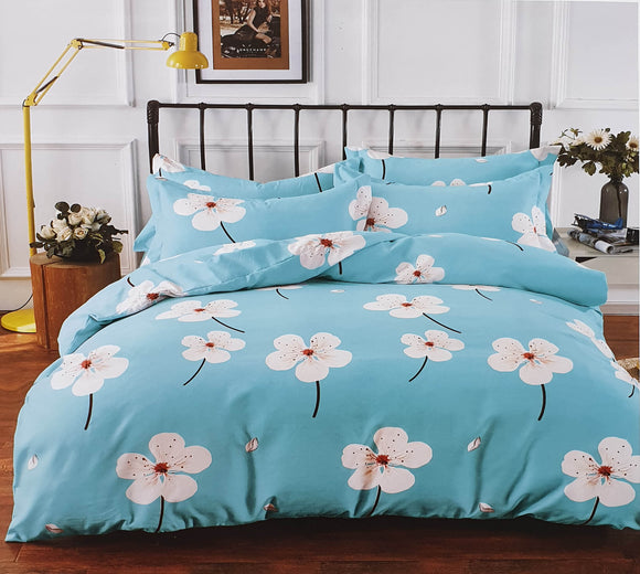 Duvet Cover set 90 GSM quality Double King size Daisy Light blue - cushion mania