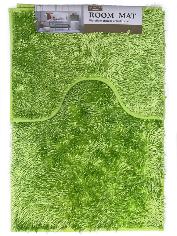 Sparkle chenille Bath and Pedestal Mat Sets Anti Slip LIME GREEN - cushion mania