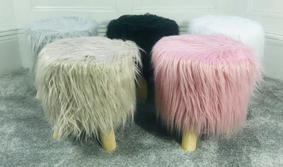 Stool Pouffe Shaggy Faux Fur Foot Bench Ottoman Modern Padded Wooden Round - cushion mania