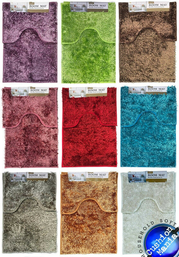 sparkle chenille Bath Set Pedestal Mat Sets Soft Luxury Bathroom Rugs Anti Slip - cushion mania