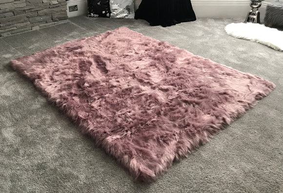 Soft Fluffy PLAIN Faux Fur Rugs Carpet Mat 150cm X 100cm Soft Pink - cushion mania