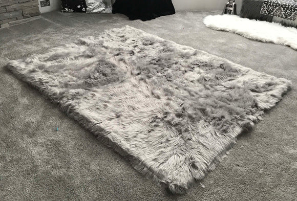 Soft Fluffy PLAIN Faux Fur Rugs Carpet Mat 150cm X 100cm Grey - cushion mania