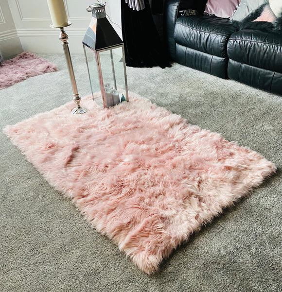 Soft Fluffy PLAIN Faux Fur Rugs Carpet Mat 150cm X 200cm Soft Pink - cushion mania