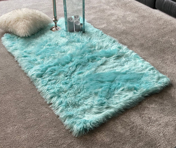 Soft Fluffy PLAIN Faux Fur Rugs Carpet Mat 150cm X 100cm Tiffany blue - cushion mania