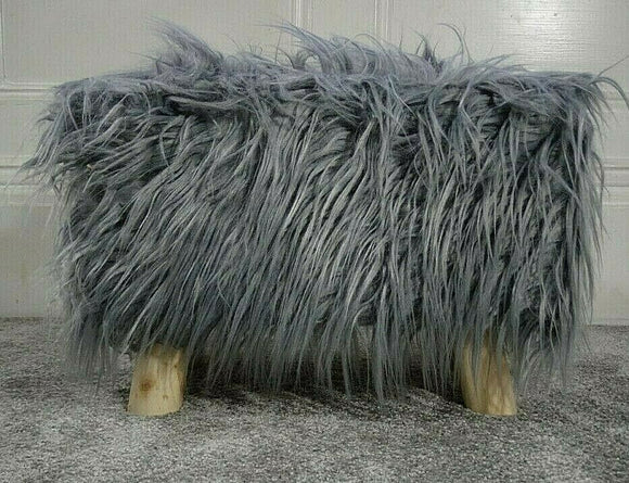 cushion mania Stool Pouffe Shaggy Faux Fur Foot Bench Ottoman Modern Padded Wooden Rectangle Grey - cushion mania