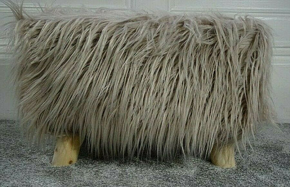 cushion mania Stool Pouffe Shaggy Faux Fur Foot Bench Ottoman Modern Padded Wooden Rectangle Beige - cushion mania