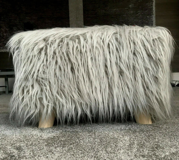cushion mania Stool Pouffe Shaggy Faux Fur Foot Bench Ottoman Modern Padded Wooden Rectangle Silver - cushion mania