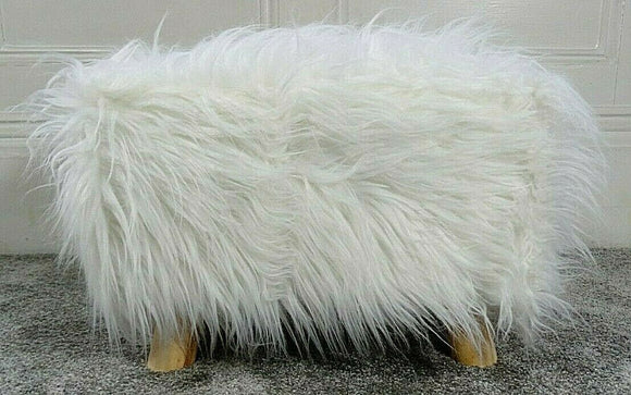 cushion mania Stool Pouffe Shaggy Faux Fur Foot Bench Ottoman Modern Padded Wooden Rectangle White - cushion mania
