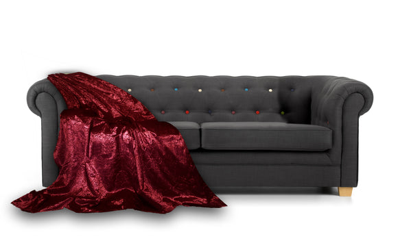 Marble Crush LINED Throwover Bedspread For Sofa Bed RED - cushion mania