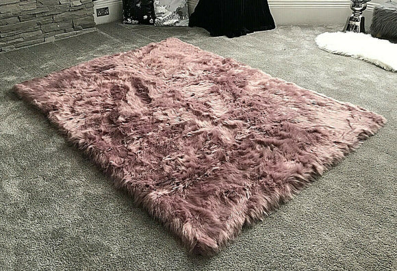 Soft Fluffy PLAIN Faux Fur Rugs Carpet Mat 150cm X 200cm Mauve - cushion mania